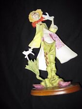 """Clown With Umbrella On Wooden Base 7.5"""" Tall"""