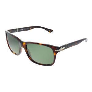 New Persol PO 3048S 24/31 Havana Plastic Rectangle Sunglasses Green Lens