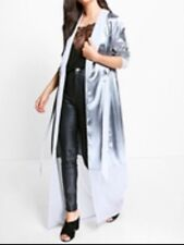 Boohoo Grey Satin Contrast Panel Belted Duster. UK 8