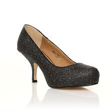Style Ada Womens Ladies Mid Heel Casual Smart Work Pump Court Shoes Size 3-8 Black Glitter 37 UK 4