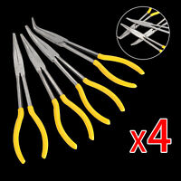 4PCS Extra Long Nose Pliers Straight 45 & 90 Degrees Bent Tip Hand Tool Set