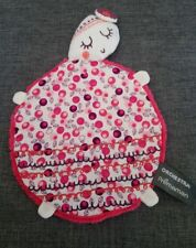 Doudou plat tortue fleur blanc rose broderies bruitage Orchestra + Cadeau