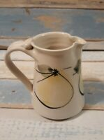 "Handmade Pottery Milk Creamer Pitcher Handpainted 4 3/8"" signed art pears"