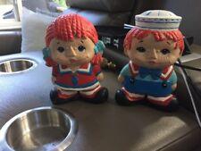 "Raggedy Ann And Andy Ceramic Dolls 6"" Tall Sailor Theme"