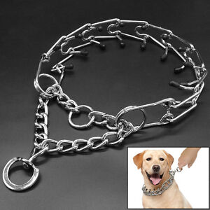 Martingale Training Metal Dog Prong Collar Pinch Necklace with Rubber Protector