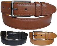 Mens Leather Belts Smart Casual Plain Trouser Belt Black Brown Tan Sizes S - XXL