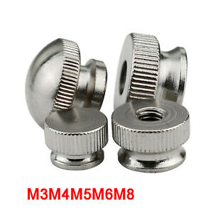 Knurled Thumb Nuts Ni-plated Steel Hand Grip Knobs M3M4M5M6M8 Dome / Flat Head