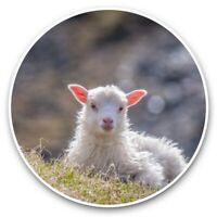 2 x Vinyl Stickers 15cm  - Little White Lamb Goat Nature  #45582