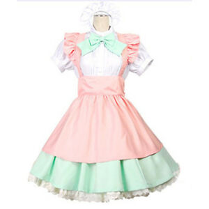 Japanese Lolita Bow Dress Maid Amine Uniform Costume Halloween Cosplay Party