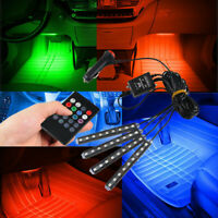 RGB 7Color LED Neon Strip Light Music Remote Control For Car Interior Lighting