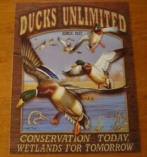Ducks Unlimited Conservation Wetlands Tin Sign Hunting Cabin Lodge Poster