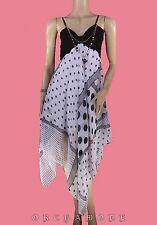 Robe déstructurée T. UNIQUE = 38 40 42 44 46 Voile blanc noir bijou NEUF Dress