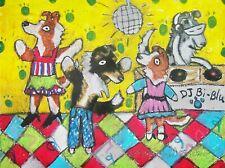 Shetland Sheepdog Art Print 4x6 Dog Sheltie Going Clubbing Dance Signed Artist