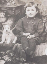 1910s? RP POSTCARD SMILING YOUNG BOY & PET PUPPY DOG