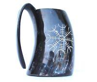 Viking Warrior's Helm of awe engraved Viking Drinking ale beer mead Mug Tankard