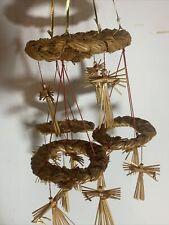 Vintage Braided Straw Hay Wheat Woven Mobil Swedish Scandinavian Hanging Decor