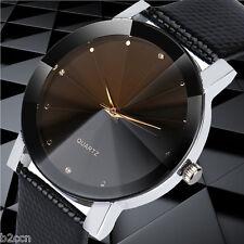 Men's Stainless Steel Dress Watch Analog Quartz Sport Dial Leather Wrist Watches