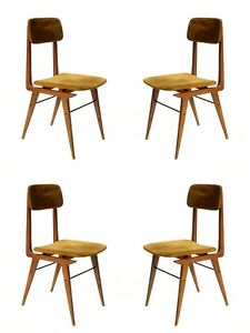 1950s by Elam Italian Design Midcentury modern Set of 4 Chairs