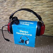 RETRO Vintage AMSTRAD HP-40 Stereo Headphones New / Unused Rare Boxed Red