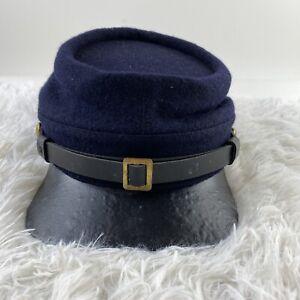 Civil War Union Army Wool Leather Peak Kepi, Navy Blue Vintage, XL (replica)