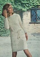 """Lady's dress knitting pattern in DK. Aran style. 34""""-38"""" bust."""