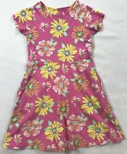 Lands End Kids Size 6x-7 Years Pink Floral Short Sleeve 100% Cotton Dress