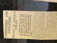 M3-9a ephemera 1941 dagenham ww2 article bertram bragger commended during raid