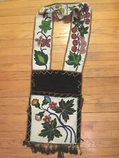 Antique Ojibwa Beaded Bandolier Bag   (Great Lakes Woodland Sioux Basket Pipe)