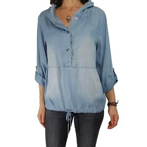 CHICOS ZENERGY M 1 Blue Denim Look Tunic Popover Hooded Drawstring Top Blouse