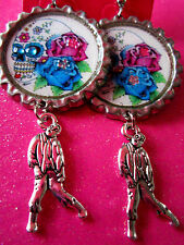 Day Of The Dead Sugar Skull With Walking Dead Zombie Dangle Charm Earrings #37