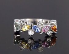 $2,500 14k White Gold Multi Color Sapphire Stone Diamond Milgrain Ring Band Sz 6