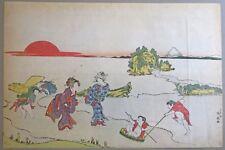 """SHUNSEN """"Deux femmes et deux enfants jouant, le Mont Fuji au loin"""" 1810"""