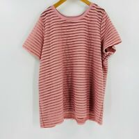 Eloquii Short Sleeve Tee Plus Size 18/20 Women Pink Pullover Striped Top