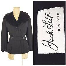 Vintage 40s Jack Feit Jacket Size Medium Wool Blazer Fur Collar WWII Black Coat