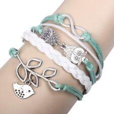 Uil Infinity olijftak armband gevlochten leer touw Wrap oneindige Bangle