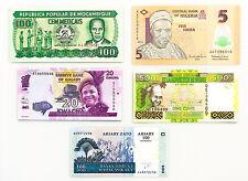 5 diff. Africa countries paper money Madagascar, Nigeria, etc. Au-Unc.