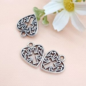 10 x Heart With Cross Charms Antique SILVER Tone 16x15mm Crafts Findings