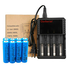 Lot 18650 Battery Li-ion 3.7V Rechargeable Charger For LED Flashlight Torch USA