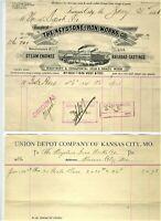 1886 KANSAS CITY MISSOURI BILLHEAD & VOUCHER KEYSTONE IRON WORKS TO UNION DEPOT