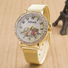 Deluxe Women Ladies Crystal Gold Mesh Band Flower Pattern Wrist Watch