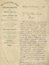 Ufficio Internazionale di Collocamento Alberghi Ristoranti Caffè Bologna 1893