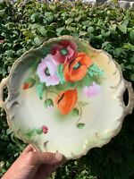 Royal Munich Hand Painted Platter with scalloped edge Handles Floral Antique