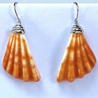 Spiny Oyster Shell Earrings Long Clam Sterling Hook Carved Orange Dangle