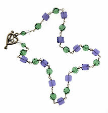 """Blue and Green Crystal Cube Bead Necklace 925 Sterling Silver  8mm 16.5"""""""