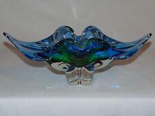 VINTAGE CHALET MID CENTURY MODERN ITALIAN MURANO ART GLASS GREEN BLUE VASE BOWL