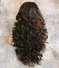 Medium Brown Mix 3/4 Fall Half Wig Cap Hairpiece Extra Long Curly Hair Piece NWT