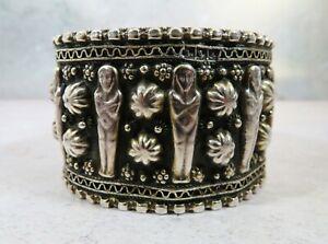 Vintage Egyptian Mummy Silver Cuff Bracelet