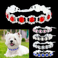 Pet Dog Collar Cat Diamond Pearl Rhinestone Bling Necklace Tag Safty Lead Band