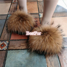 2020 Max Large XXL Real Natural Brown Raccoon Fur Slides Womens Slippers Shoes