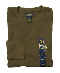 NWD Polo Ralph Lauren Men's Brown Waffle Knit Thermal Crew-Neck T-Shirt
